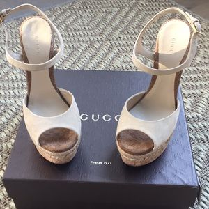 Gucci cream suede wedges.